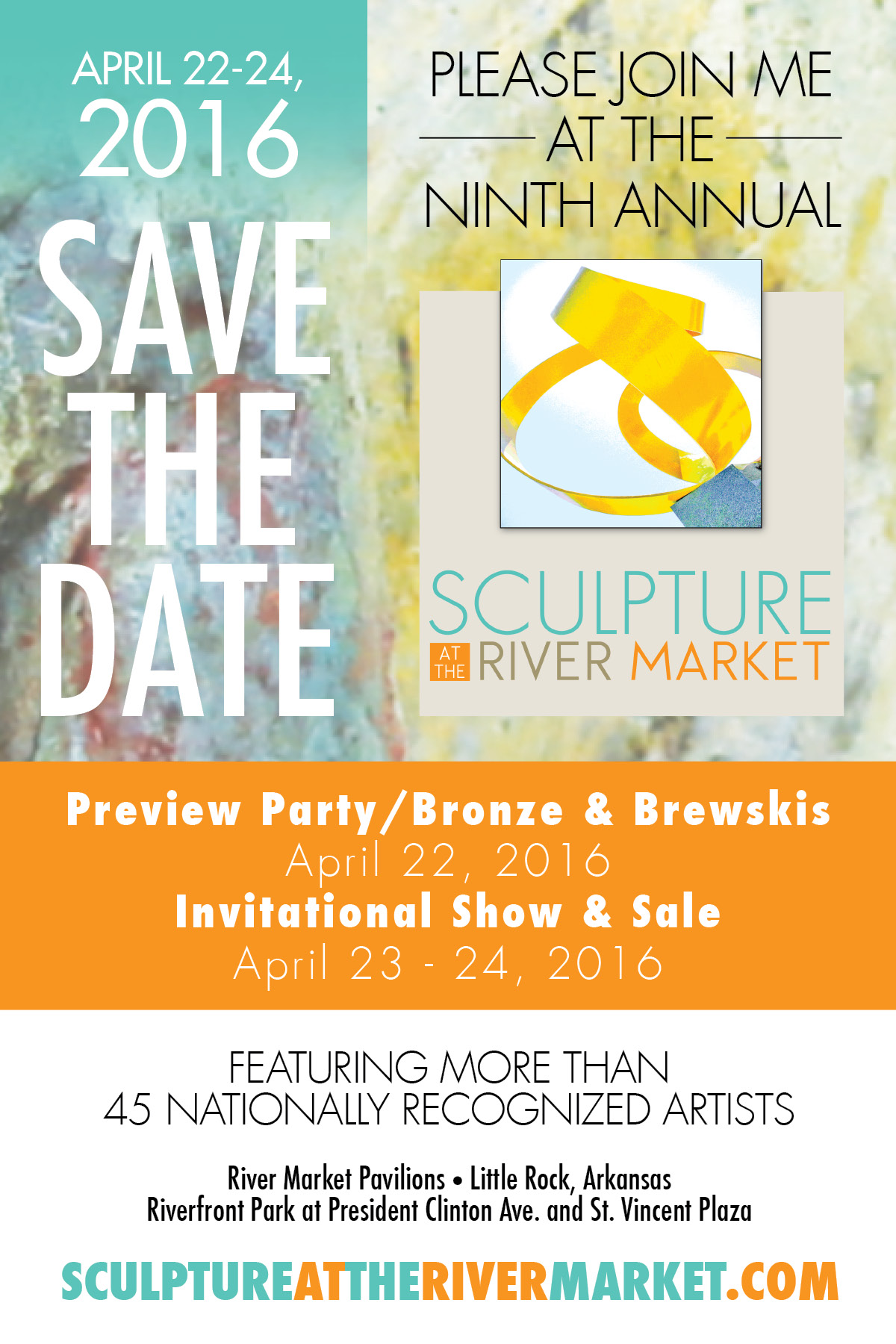save the date 2016 show sale sculpture at the river market